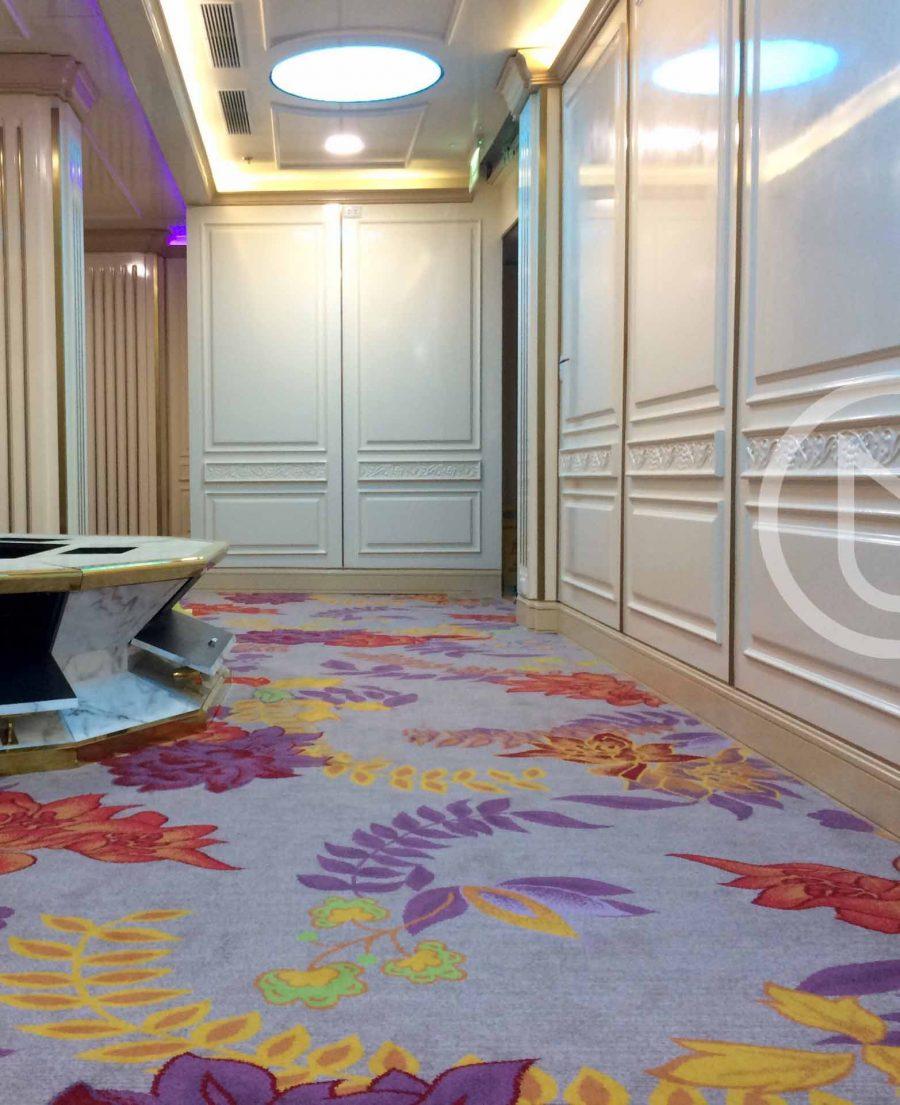Axminster woven cut pile carpet of 80% wool 20% nylon.